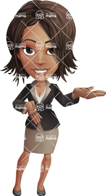 African American female with black coat vector character pack of poses - Kim the Office Lady - African American female vector pack - Kim the Office Lady - pointing