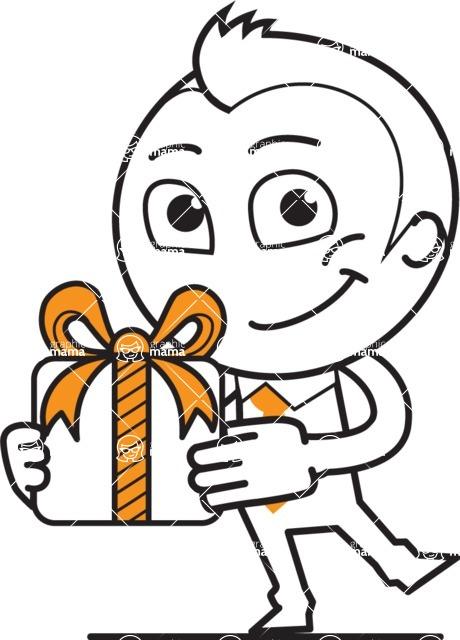 outline vector cartoon character - outline vector character design gift present