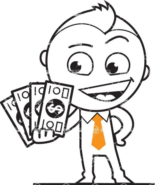 outline vector cartoon character - outline vector character design making money