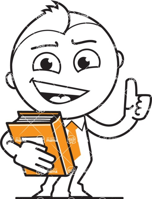 outline vector cartoon character - outline vector male character with a book