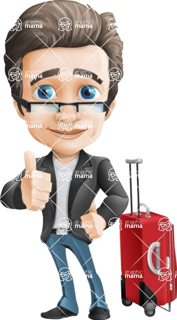 Handsome man vector character - Nick Smartman - Handsome man vector character - travel trip