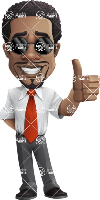 African American male character with a black hair - Vector Illustrations -  African American male character with sunglasses