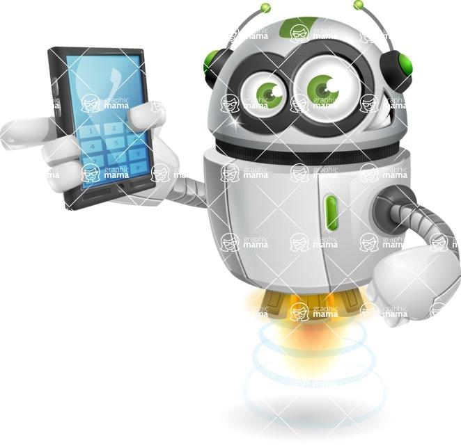 robot vector cartoon character - robot vector cartoon character design - smart mobile device