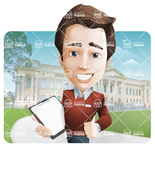 male vector cartoon character graphic design - Sam The Workaholic - male vector man cartoon character casually dressed, smart and diligent - with city background