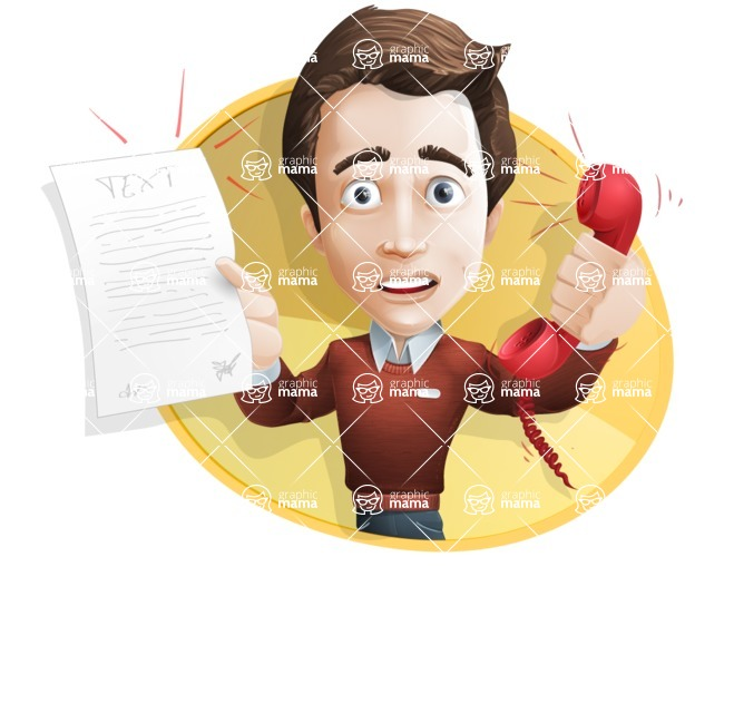 Vector Working Man Cartoon Character in 112 Poses - male vector character casually dressed, smart and diligent talking phone