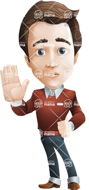male vector cartoon character graphic design - Sam The Workaholic - male vector character casually dressed, smart - goodbye action pose