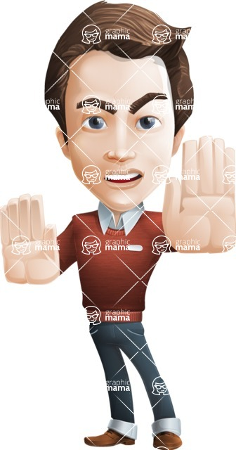male vector cartoon character graphic design - Sam The Workaholic - male vector character casually dressed smart and diligent stop action pose
