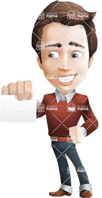 male vector cartoon character graphic design - Sam The Workaholic - male vector character casually dressed, smart and diligent graphic - show correspondence