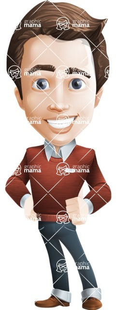 male vector cartoon character graphic design - Sam The Workaholic - male vector character casually dressed, smart and diligent - Sam