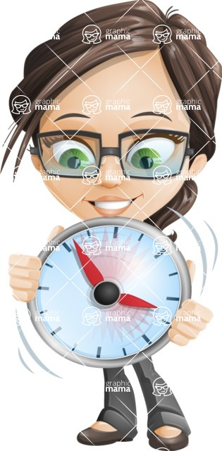 Little Business Girl Cartoon Vector Character AKA Nikki the Cute Geeky - woman vector female cartoon character design - showing clock time