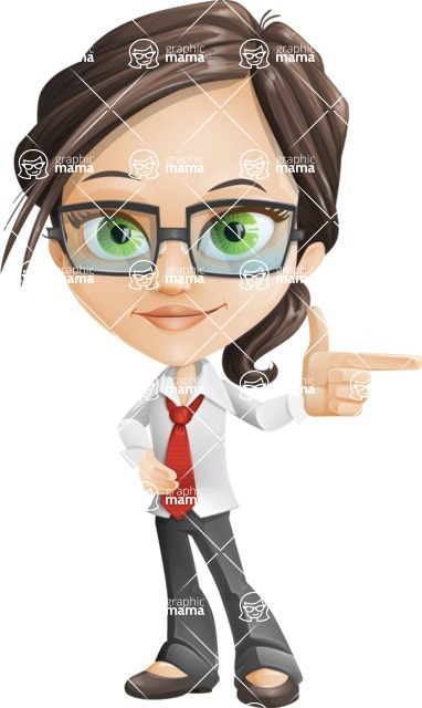 Little Business Girl Cartoon Vector Character AKA Nikki the Cute Geeky - woman vector female cartoon character design - point