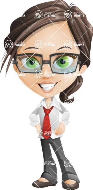 woman vector female cartoon character - Nikki - woman vector female cartoon character design - Nikki The Cute Geeky