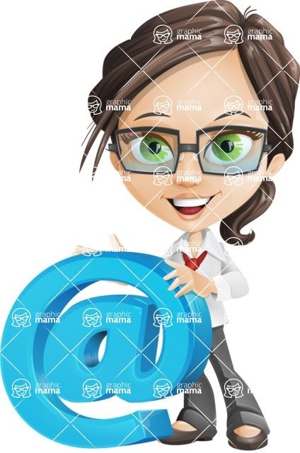 woman vector female cartoon character - Nikki - woman vector female cartoon character design - email communication
