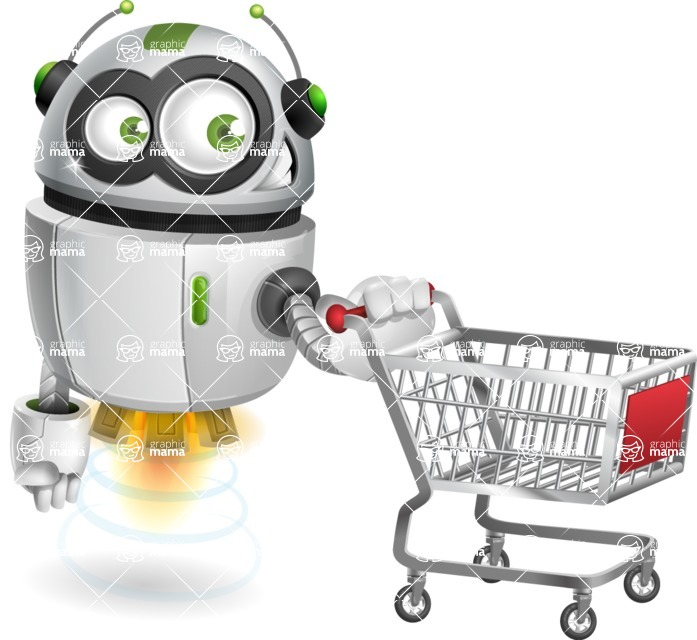robot vector cartoon character - robot vector cartoon character design shopping buyer trolley