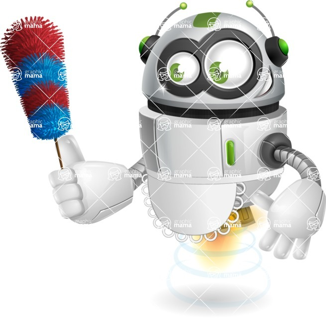 robot vector cartoon character design - robot vector cartoon character design cleaning