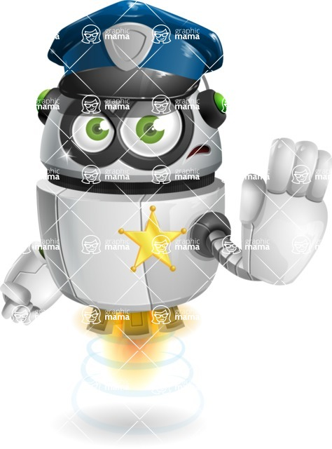 robot vector cartoon character - robot vector cartoon character design policeman