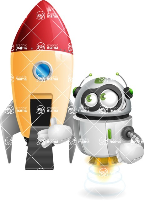 robot vector cartoon character - robot vector cartoon character design rocket space
