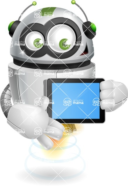 robot vector cartoon character - robot vector cartoon character design tablet ipad