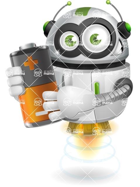 robot vector cartoon character design - robot vector cartoon character design - power energy battery