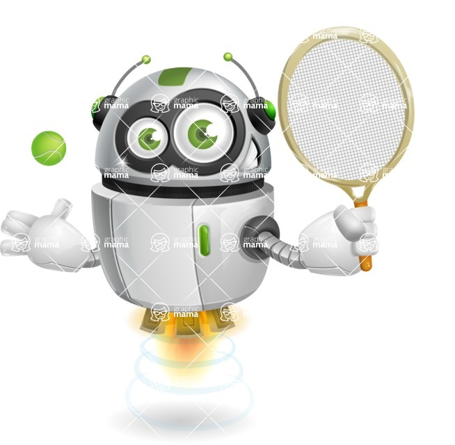 robot vector cartoon character - robot vector cartoon character design tennis player