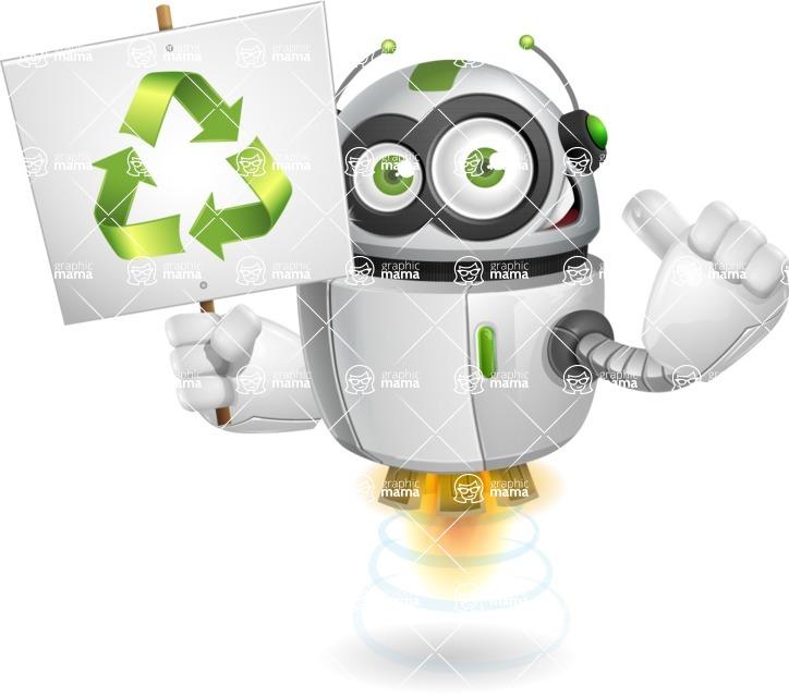 robot vector cartoon character design - robot vector cartoon character design bio recycling