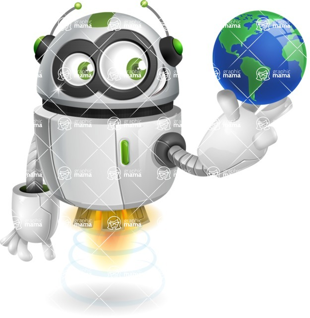 robot vector cartoon character - robot vector cartoon character design globe earth world