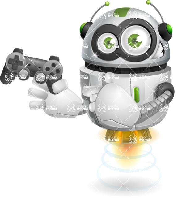 robot vector cartoon character - robot vector cartoon character design game player