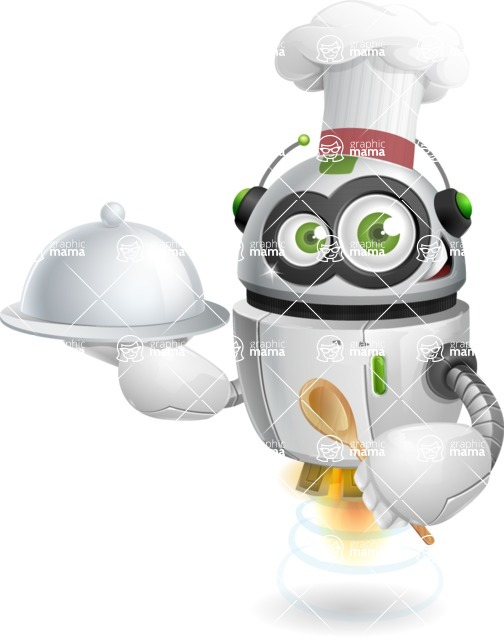 robot vector cartoon character - robot vector cartoon character design master chef food cook