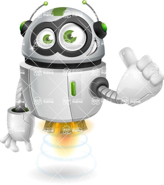 robot vector cartoon character - robot vector cartoon character design thums up