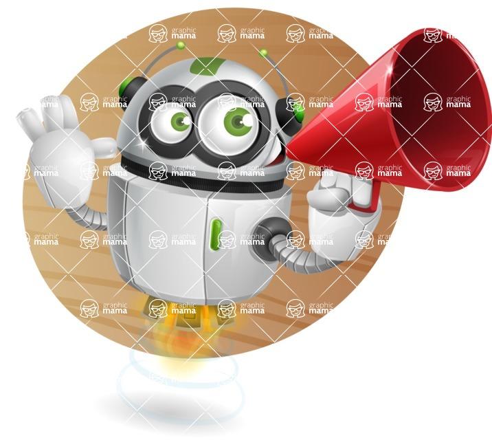 robot vector cartoon character - robot vector cartoon character design loudspeaker attention