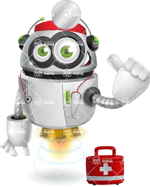 robot vector cartoon character - robot vector cartoon character design doctor