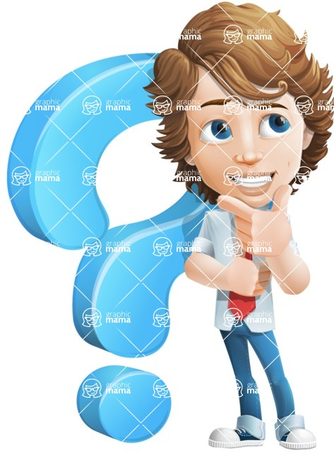 boy cartoon character vector pack - Mark - GraphicMama's bestseller - cartoon male character young boy - Mark Millennial - question