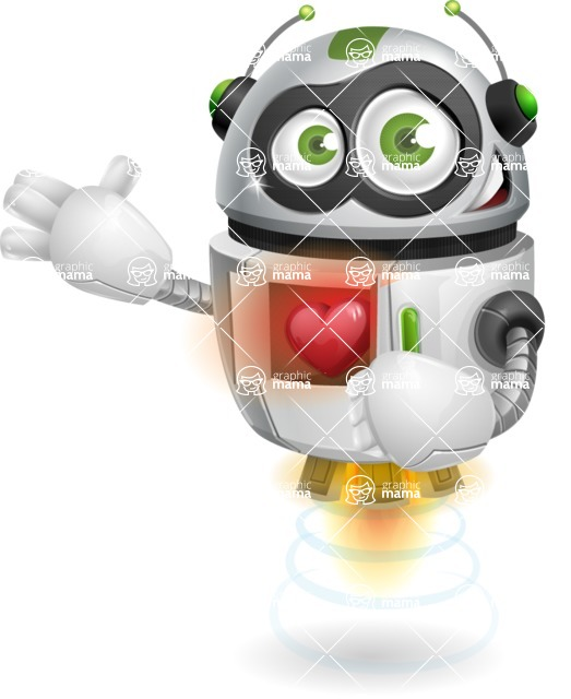 robot vector cartoon character - robot vector cartoon character design love red heart