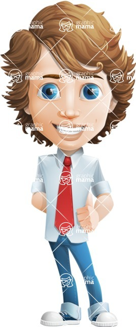 Vector Man Cartoon Character - cartoon male character young boy - Mark Millennial