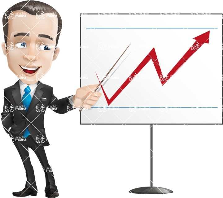 Vector Male Business Cartoon Character - businessman vector cartoon character business suit presentation