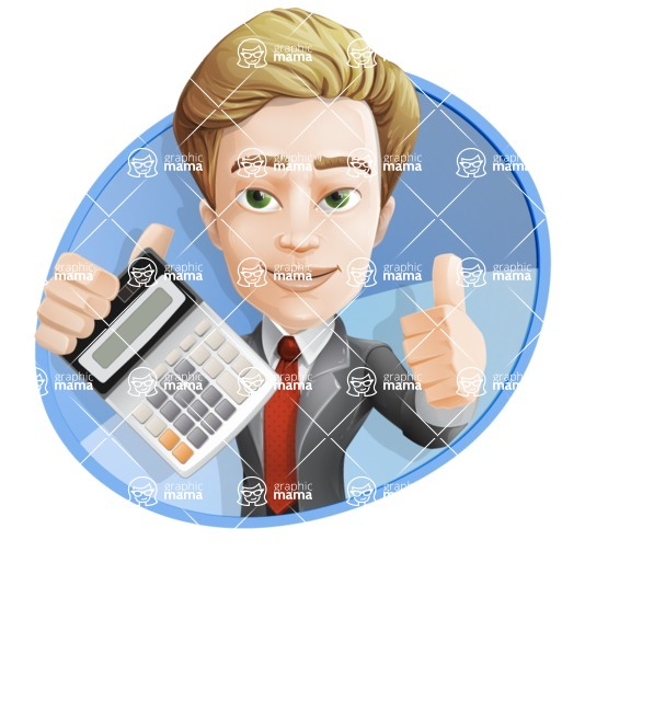 male cartoon character, elegant blond man vector - male cartoon character, elegant blond man vector calculator with background