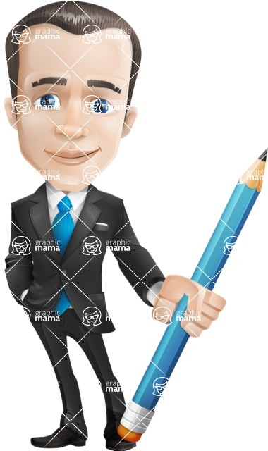 businessman vector cartoon character design modern look  - business vector cartoon character man graphic design pencil