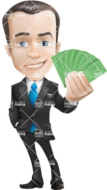 Vector Male Business Cartoon Character - businessman vector cartoon character design modern look rich money