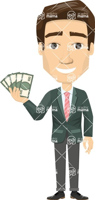 Vector graphic creation kit - all kinds of office men, with different duties, personalities, clothes, hair, accessories - Vector graphic man with money