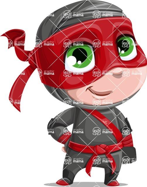 Little Ninja Kid Cartoon Vector Character AKA Shinobi The Curious Boy - ninja boy vector