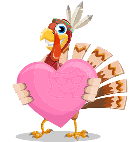 Indian Turkey Cartoon Vector Character AKA Snoody the Native Turkey