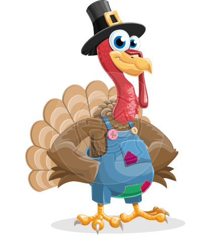 Thanksgiving Turkey Cartoon Vector Character AKA Mr. Turkey McFarm