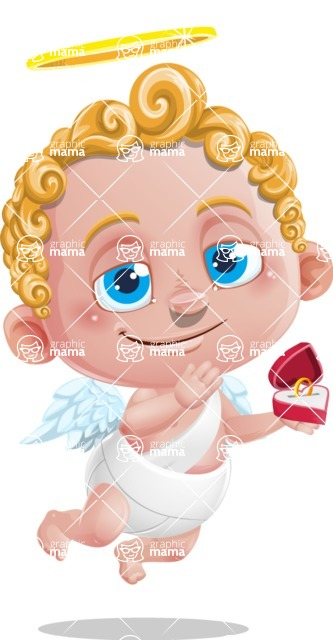 Cupid Cartoon Character - Cartoon Cupid with Engagement Ring