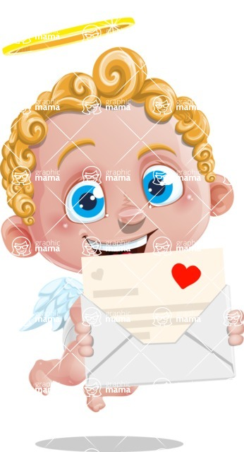 Cupid Cartoon Character - Cartoon Cupid holding a Card for Valentine's Day