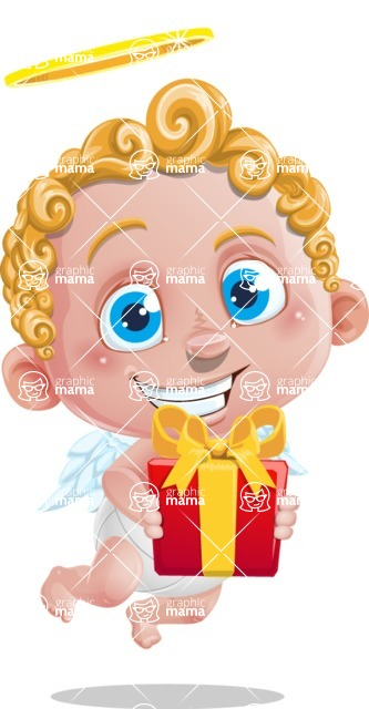 Cupid Cartoon Character - Cartoon Cupid with Gift