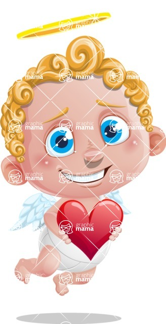 Cupid Cartoon Character - Cartoon Cupid with Heart
