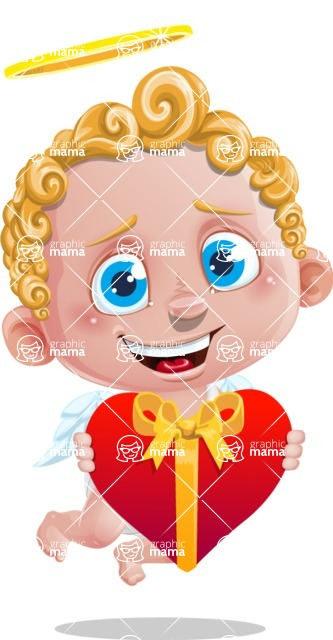 Cupid Cartoon Character - Cartoon Cupid with Heart Gift