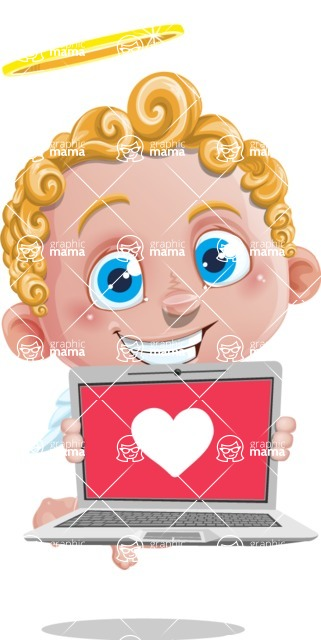 Cupid Cartoon Character - Cartoon Cupid with Laptop 2