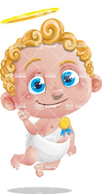 Cupid Cartoon Character - Cartoon Cupid with Ribbon