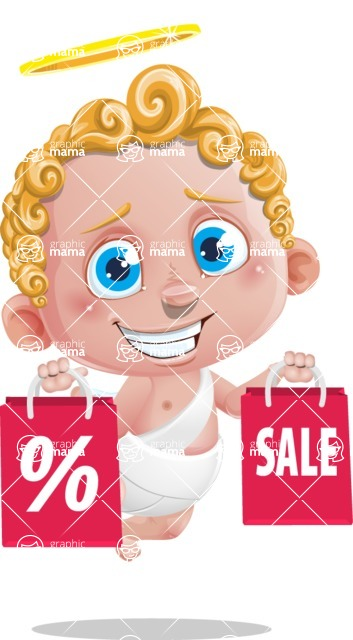 Cupid Cartoon Character - Cartoon Cupid with Shopping Bags